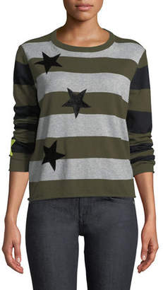 Lucky Star Lisa Todd Striped Cotton/Cashmere Sweater, Plus Size