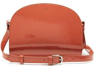 A.P.C. Half Moon Patent Leather Cross Body Bag - Womens - Orange