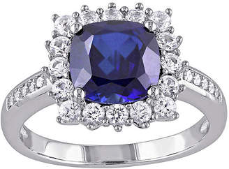 FINE JEWELRY Lab-Created Blue Sapphire and Diamond-Accent Sterling Silver Ring
