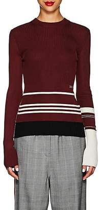 Calvin Klein Women's Striped Mixed-Knit Sweater - Burgundy Ivory Black