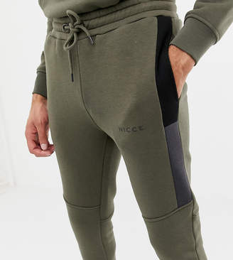 Nicce London skinny jogger in khaki with side panels exclusive to ASOS