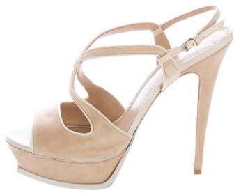 Saint LaurentYves Saint Laurent Suede Platform Sandals