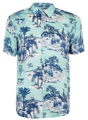 Topman Mens Blue Premium Safari Print Short Sleeve Shirt