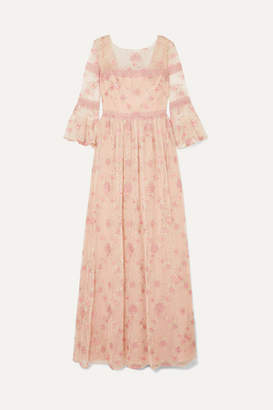 Marchesa Lace-trimmed Embroidered Point D'esprit Tulle Gown - Blush