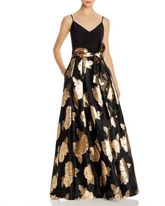 Eliza J Metallic Rose Ball Gown