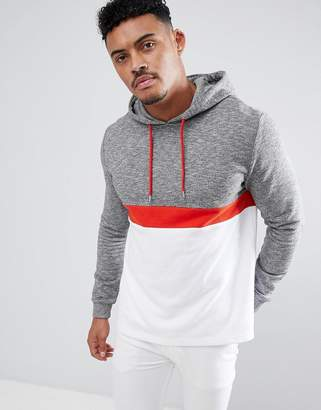 Asos DESIGN hoodie with color blocking in interest fabric