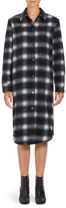Bb Dakota Long Sleeve Button Front Plaid Shirtdress $152 thestylecure.com