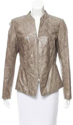 Lafayette 148 Reptile Print Leather Jacket