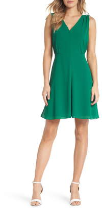 Vince Camuto Souffle V-Neck Chiffon A-Line Dress