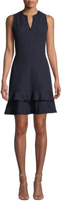 Rebecca Taylor V-Neck Tweed Ruffle-Hem Dress