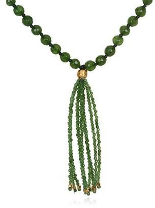 Satya Jewelry Jade Gold Plate Lotus Bead Tassel Mala Necklace