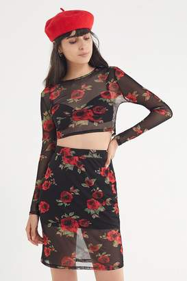 Urban Outfitters Floral Mesh Mini Skirt