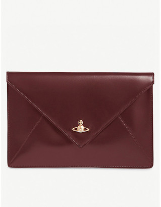 Vivienne Westwood Womens Bordeaux Red Orb Design Private Leather Envelope Pouch