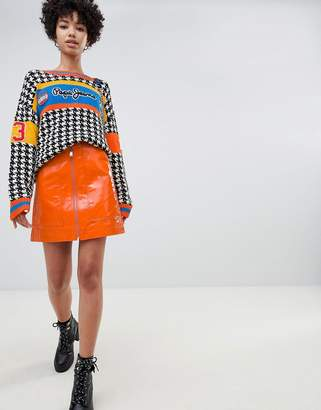 Pepe Jeans patent mini skirt with exposed zip
