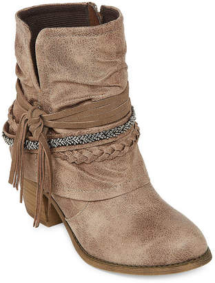 POP Womens Matchbox Dress Boots Stacked Heel Zip