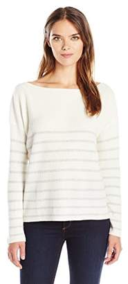Michael Stars Women's Cashmere Blend Striped Boatneck Sweater