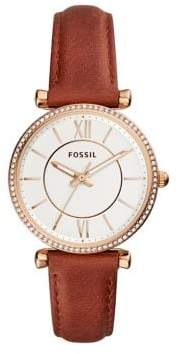 Fossil Carlie Glitz Bezel Three-Hand Leather Strap Watch