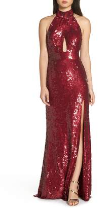 Mac Duggal Scarf Back Sequin Gown