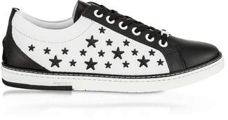 Jimmy Choo Black CASH Low Top Trainer w/Black Matt Enamel Stars