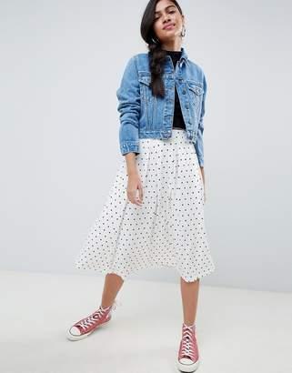 Asos DESIGN midi skirt with box pleat in polka dot