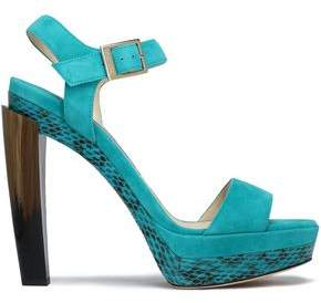 Jimmy Choo Woman Dora Suede, Elaphe, And Horn Platform Sandals Turquoise Size 37 Jimmy Choo London