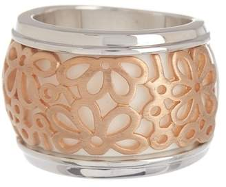 Breuning Two-Tone Rose Gold Plated Sterling Silver White Corian Flower Inlay Ring