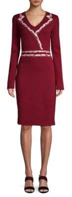 Carolina Herrera V-Neck Wool Knee-Length Dress