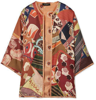 Etro Reversible Printed Silk-twill Poncho - Orange