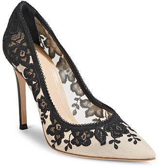 Gianvito Rossi Embroidered Lace Pumps