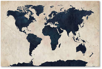 Canvas world map shopstyle australia at macys trademark global michael tompsett world map navy 18 x 28 canvas gumiabroncs Image collections