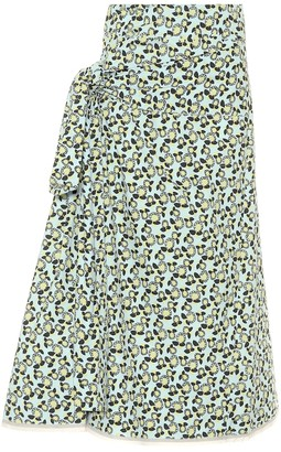 Marni Printed cotton and linen midi skirt