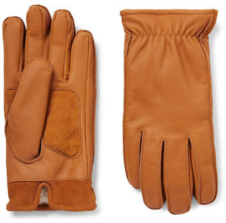 J.Crew Sherpa-Lined Suede-Panelled Leather Gloves