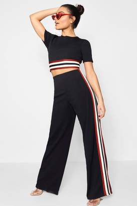 boohoo Holly Tape Insert Crop and Trouser Set