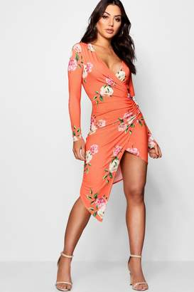 boohoo Floral Print Long Sleeve Wrap Dress