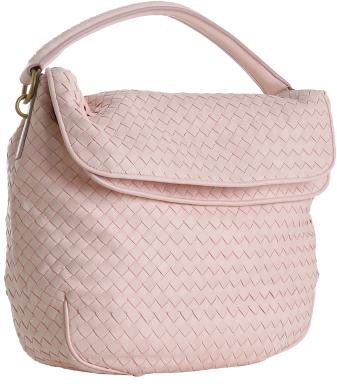 Bottega Veneta pink woven leather fold-over shoulder bag