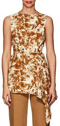 Victoria Beckham Women's Fur-Print Crepe Belted Blouse