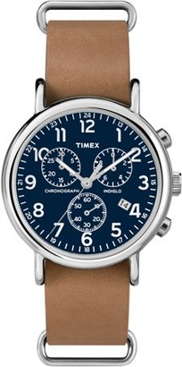 Timex Weekender Forty Chrono Watch, Tan Leather NATO-Style Slip-Thru Strap