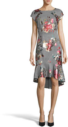 Label By 5twelve Cap-Sleeve Floral-Jersey High-Low Dress