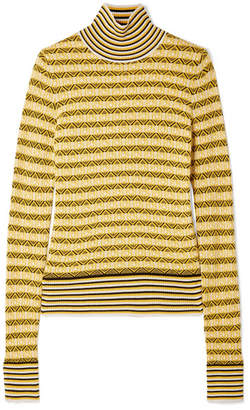 Carven Wool-blend Jacquard Turtleneck Sweater - Yellow