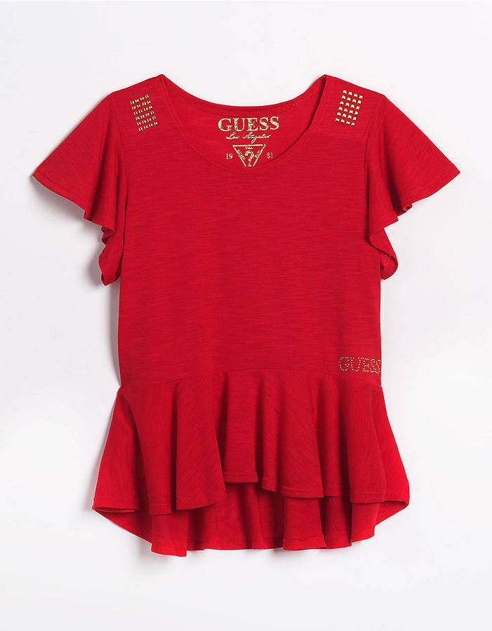 GUESS Tweens 7-16 Flutter Top With Stud Detail