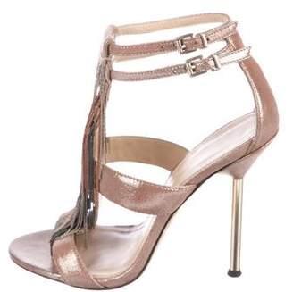 Brian Atwood Metallic Embellished Sandals