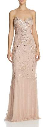 Aidan Mattox Strapless Jeweled Gown