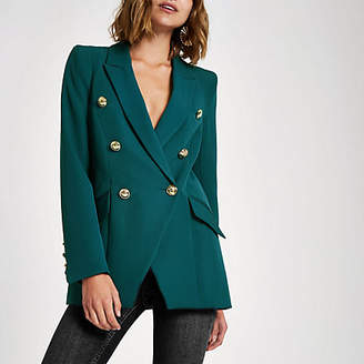 River Island Green double breasted tux jacket