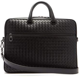 Bottega Veneta Intrecciato Slim Leather Briefcase - Mens - Black