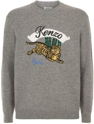 Kenzo Bamboo Tiger Intarsia Sweater