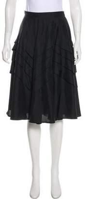 Max Mara Silk Tiered Knee-Length Skirt