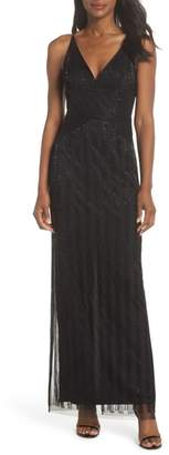 Adrianna Papell V-Neck Beaded Stripe Gown