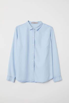H&M H&M+ Lyocell Denim Shirt - Blue