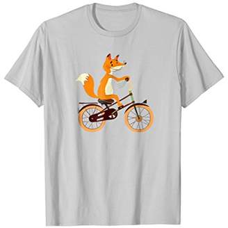 Fox Funny Cycling Tees On Bicycle - Animal Lovers T-Shirt