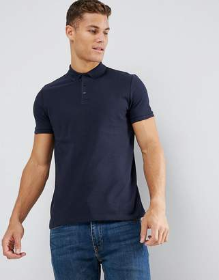 Asos Design DESIGN pique polo with button down collar in blue